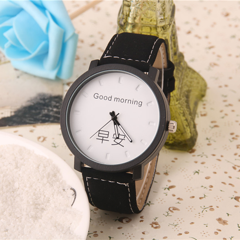 Runer Fashion ladies Watches hot sale Chinese Character good morning Lovers Couple Luxury Leather strap Watch Reloj Hombre Clock