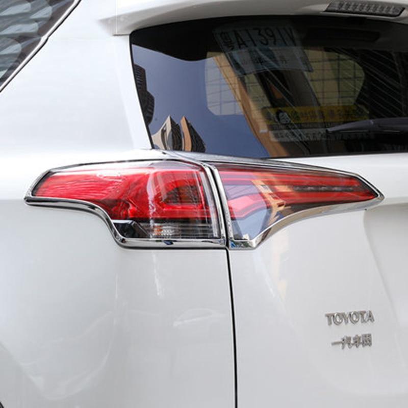 4pcs ABS Chrome Rear Tail light lamp cover trim  For Toyota RAV4 2013 2014 2015