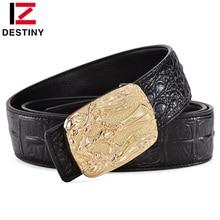 купить DESTINY Luxury Famous Brand Designer Belt Men Crocodile High Quality Male Genuine Leather Strap Waist Wedding Jeans Wide Gold по цене 618.66 рублей