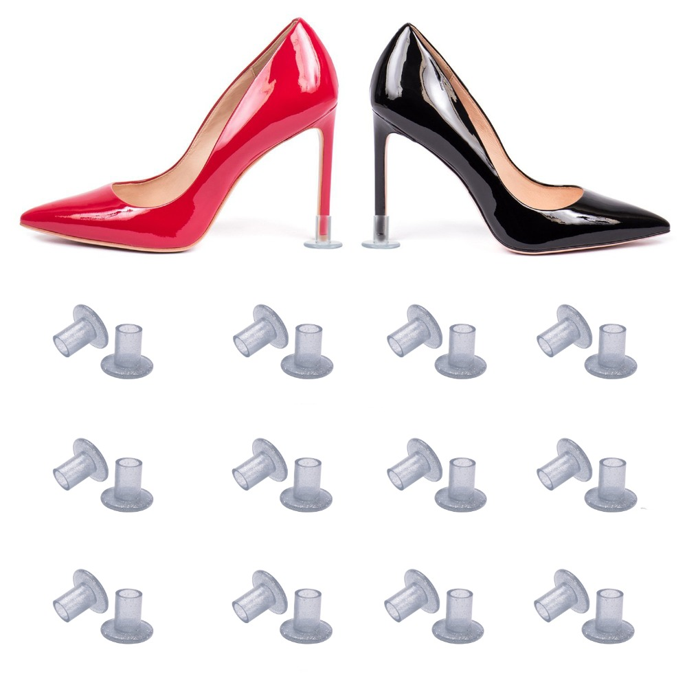 20 Pairs /Lot Heel Protectors High Heeler Antislip Silvery Heel Stopper Latin Stiletto Dancing Cover For Bridal Wedding Shoes 45