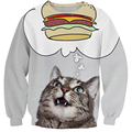 Chegam novas burger gato camisola jumper treino mulheres / homens moda cat greedy 3d hoodies pullovers outono outerwear casuais