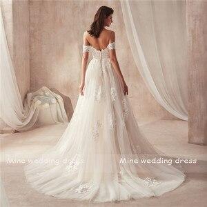 Image 4 - 2021 Off the Shoulder Nude Color Bridal Dress with Lace Applique Reals Bridal Dress New Coming Robe De Soiree Longue