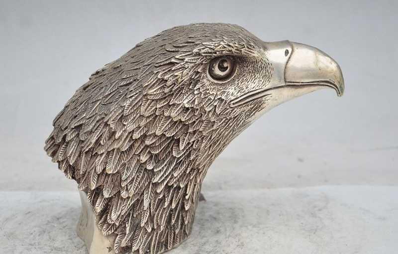 "8 ""Chinois Fengshui Argent Chanceux Faucon faucon Aigle fly Bird Roi Tête Art Statue"