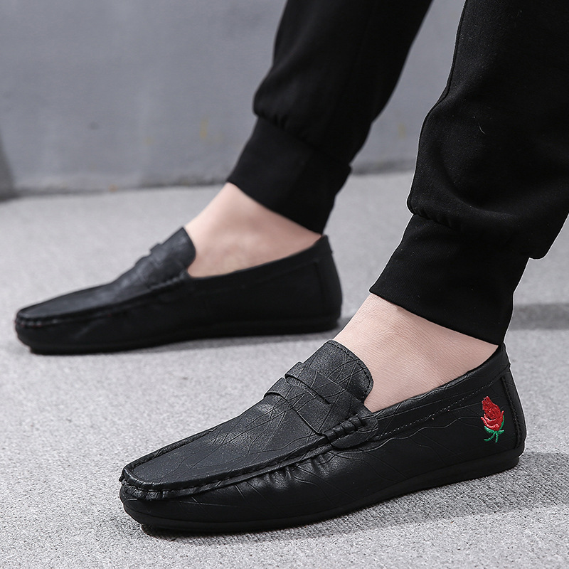 Men Pu Flats Shoes Black Casual Platform Round Shoes PU Leather Shoes Male Loafers Men Flats Breathable in Men 39 s Casual Shoes from Shoes