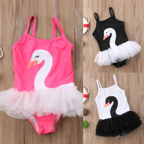 6e6b5fb0f7f Toddler Baby Girl Swan One-piece Swimsuit Babies Cartoon String Swim  Swimwear Swimsuits Tulle Swimming
