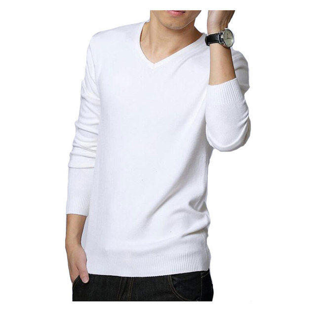 2015 Autumn Winter Mens Sweaters Black/White Jumper Male V-Neck Pullovers Long Sleeve Slim Fit Men Jumpers Solid  Knit Pull Man
