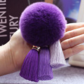 Real Soft Rabbit Fur Ball Plush Key Chain POM Keychain Tassel Pendant Pompom Car Bag Key Ring Holder