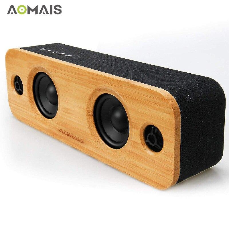 AOMAIS Vie HiFi Bambou Haut-parleurs Bluetooth En Bois Sans Fil Haut-parleurs plus puissants 30 w Stéréo L'appariement 3EQ Modes pour La Fête À La Maison Subwoofer