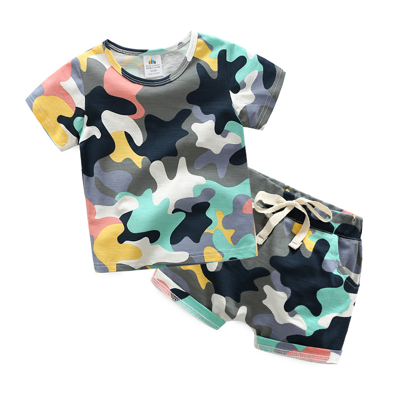 Summer Children Boy Clothes new Sets Kids Short Sleeves T-Shirts and shorts Suits Camouflage Shorts Children's sets B15 boys cotton clothes sets for children summer outfit kids camouflage t shirts