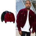 2017 TOP KANYE WEST OVERSIZE Velvet Distressed Bombers men Jackets hiphop Fashion Casual zipper pocket Jacket coat M-XL 2 color