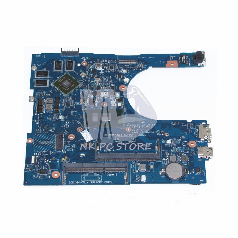 AAL15 LA-D071P Main Board For Dell Inspiron 15 5559 laptop motherboard i7-6500U SR2EZ 216-0867020 graphics DDR3 new 2pcs side mirror cover for nissan skyline r34 gtt gtr carbon fiber car accessories car styling