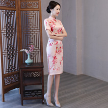 Summer Women Sexy Print Floral Chinese Style Dress Vintage Plus Size Qipao Novelty Lady Handmade Button Cheongsam