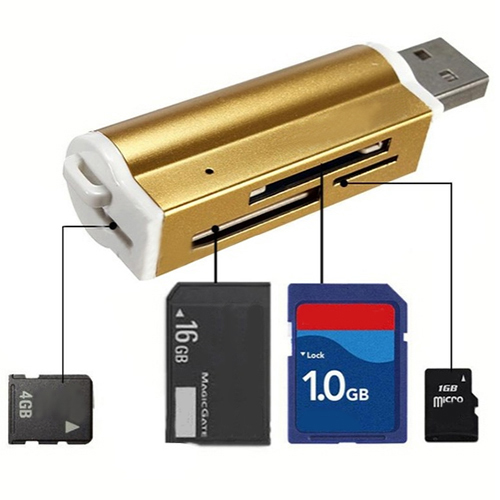 Hot Multifunctional Lighter Shape USB2.0 Micro SD TF MMC SDHC MS Memory Card Reader 63BE
