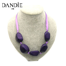 Dandie Trendy Purple and Brown Acrylic Stone Bead Necklace, Handmade Statement Women Jewelry