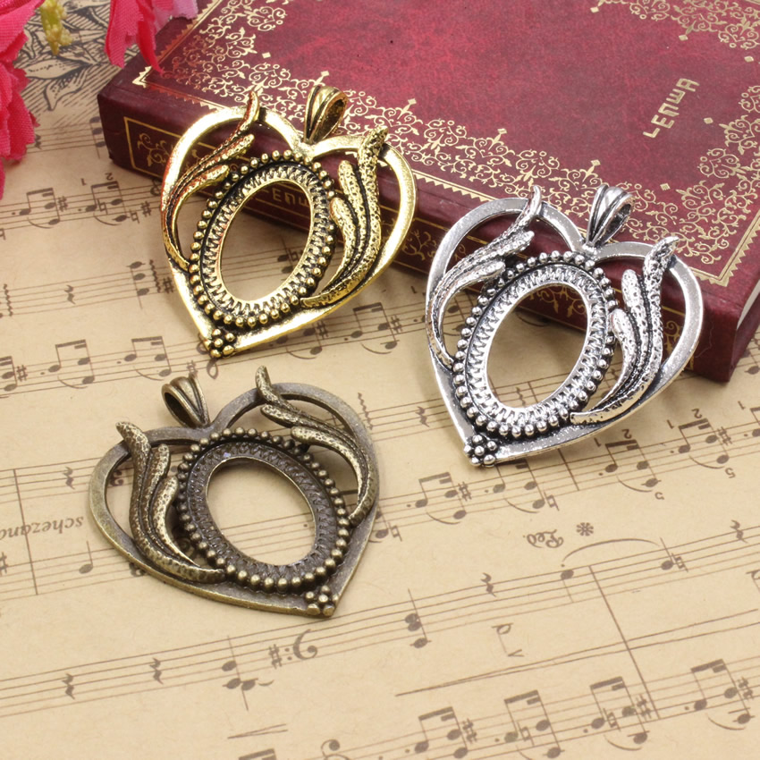 Fit 18x25mm Heart Wings Antique Silver/bronze/Antique gold Cameo/Cabochon Frame Bezel, Pendant Tray blank 5pcs/lot (K05253) image