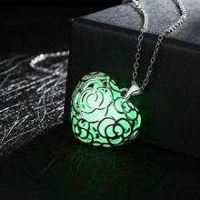 Luminous Stone Luxury Brand Jewelry Silver Color Heart Pattern Noctilucous Glow In the Dark Men Necklace for Unisex Gift Women