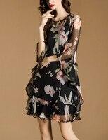 2017 קיץ חדש הדפסת פרחי משי של נשים שרוולי עטלף צוואר עגול אלגנטי עלה לוטוס לא סדיר dress dress