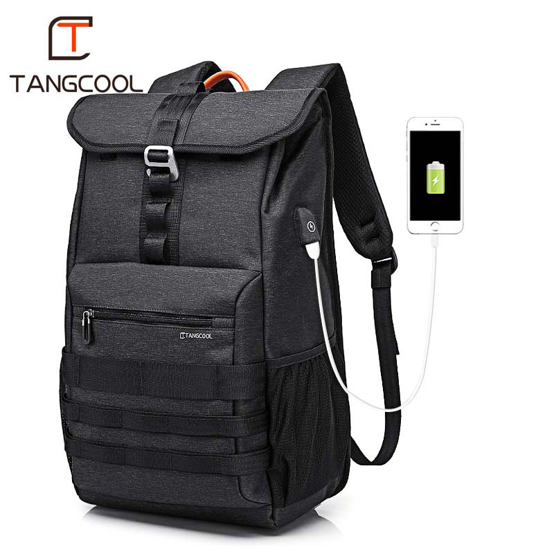 Tangcool Fashion Waterproof Backpack Colleage Student USB Laptop Backpack Travel Outdoor Bags Men Sports Rucksack