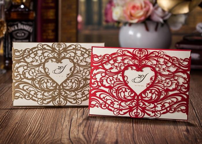 Elegant Wedding Invites Coupon: WISHMADE Gold Red Wedding Invitations Elegant Laser Cut