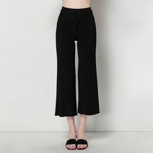 spring and summer new women's knitted pants large size loose casual pants lace ankle-length pants wide leg pants female 1606
