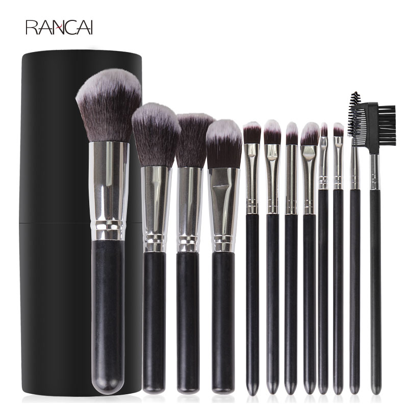 12pcs Black Makeup Brushes Set Face Powder Contour Blush Eyebrow Brush & Comb Eyelash Brush Pincel Maquiagem with Cylinder Case menu чаша black contour