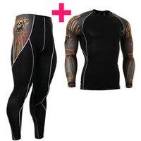 Maniche Lunghe di modo degli uomini T-Shirt 3D Stampe Stretto Compressione Della Pelle Camicie per Gli Uomini MMA Rashguard Maschio Body Building Top Fitness
