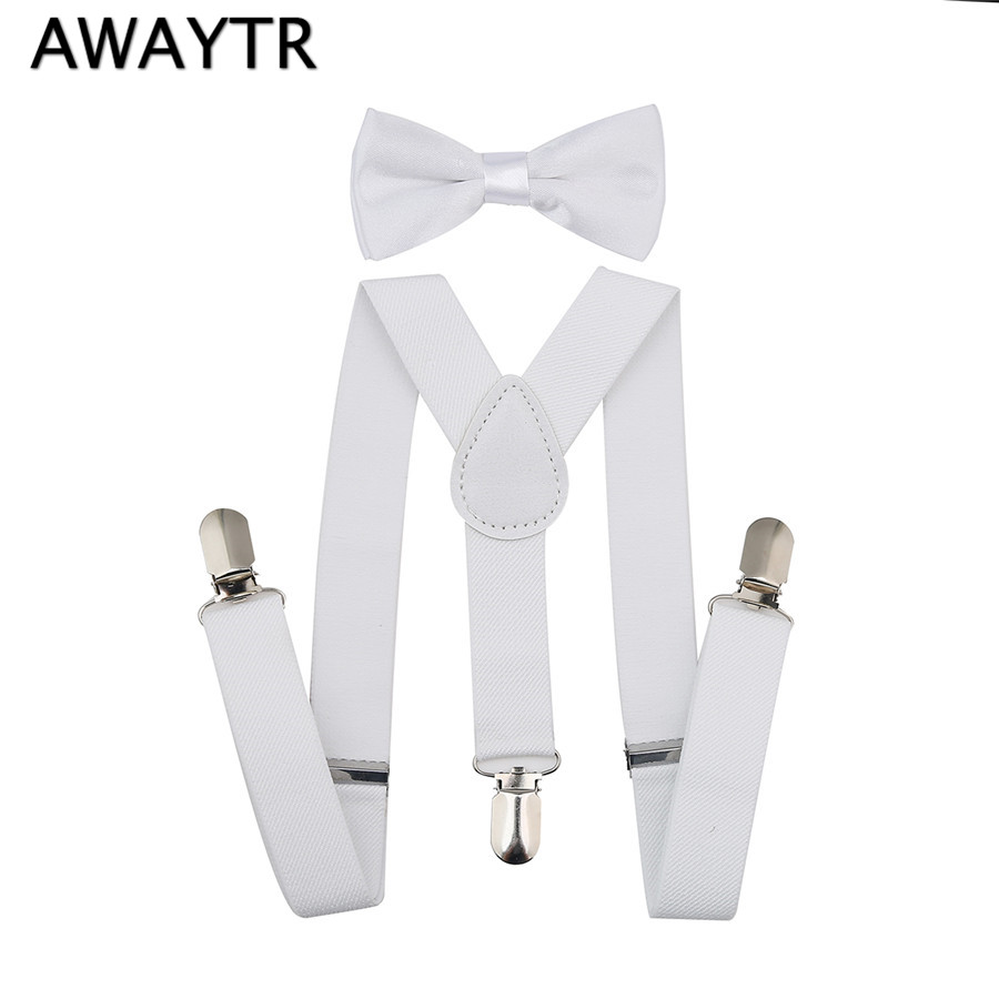 Brand New Baby Braces 2017 White Solid Color Kids Bow Tie Suspenders Set Boys Children Toddlers Kid Suspender 2.5*65 Cm