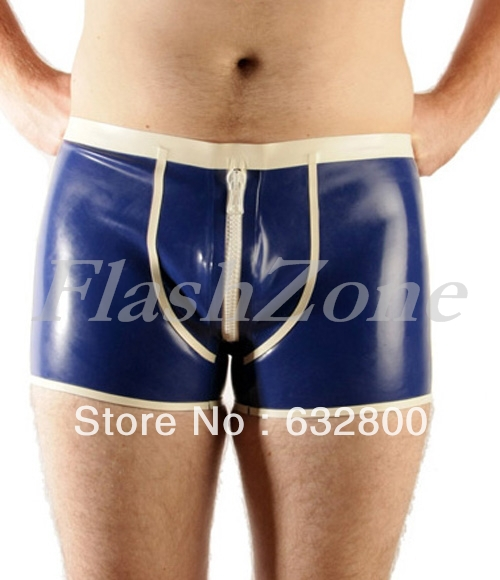 Sexy men latex boxer shorts with openning ass