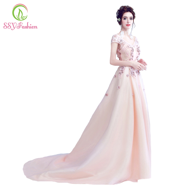 9636f79f5b9e SSYFashion New Luxury Banquet Evening Dress Sweet Pink Lace Flower with Beading  V-neck Elegant Party Formal Gown Robe De Soiree