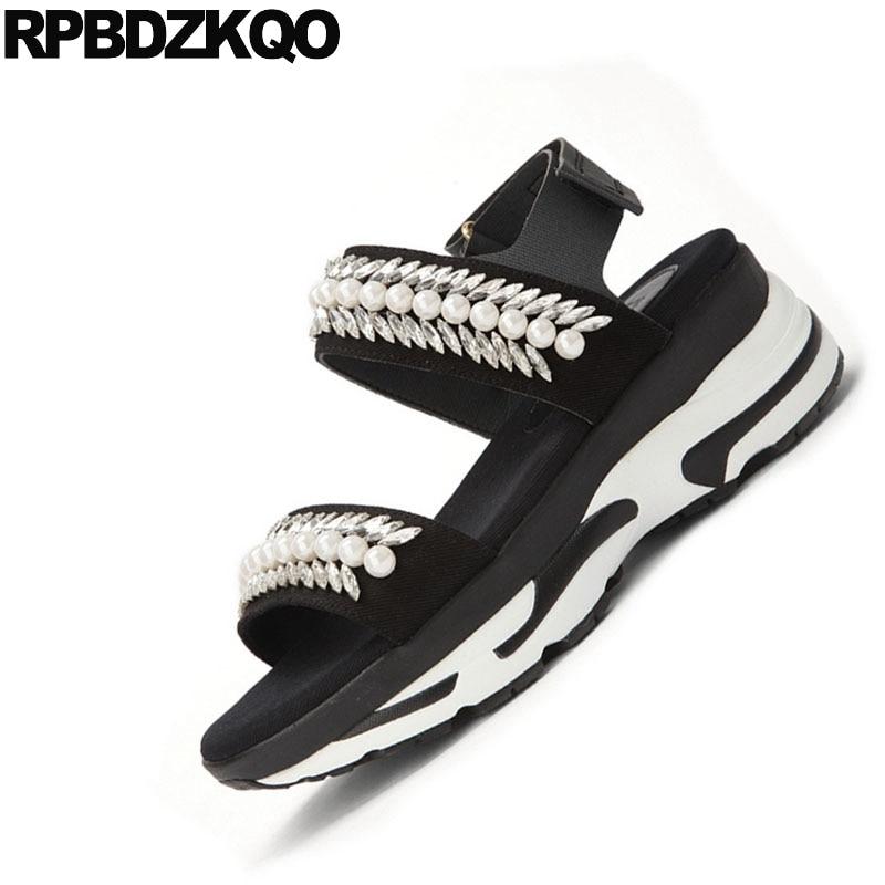 Cristal De Correa Joya Verano Plano Diamante Mujer Planos White Flatform Perla Imitación Crystal colorful Negro Crystal Zapatos Cuentas Zapatillas Doble Con Plataforma Lujo Sandalias xEwEaHZqI