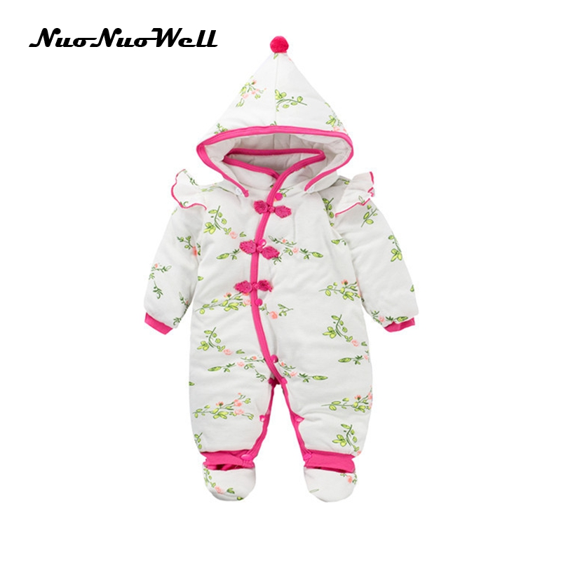 NNW Infant Outwear Winter Thick Cute Hooded Baby Rompers Baby Jumpsuit+Hat+Shoes Girls Clothes Outfits Newborn Clothing Baby