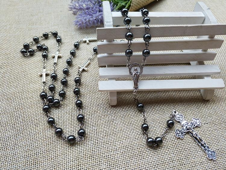 2 Pcs Großhandel Katholizismus Christianism Madonna Religiöse Christus Jesus Der Kreuzigung Kreuz Kruzifix Halskette Gebet Perlen Amulett Feines Handwerk