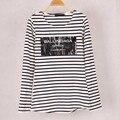 Новинка женские Ballinciaga печать футболки в полоску с длинным рукавом хлопок осень зима под футболки топы тройники для женщины / M / L / XL