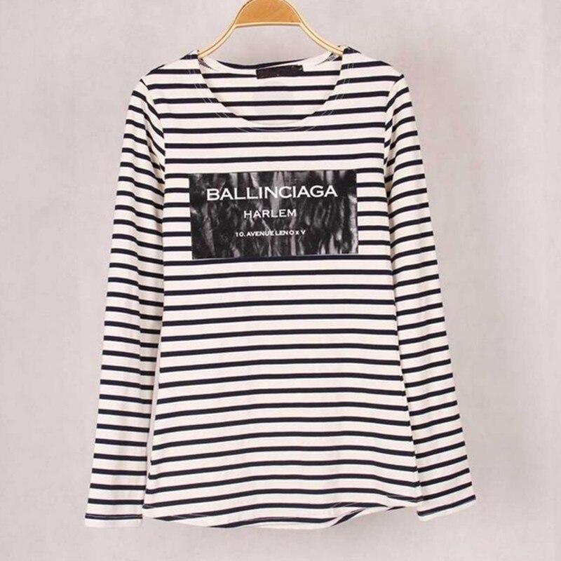 Nuevas mujeres Ballinciaga camisetas con estampados de rayas de algodón de manga