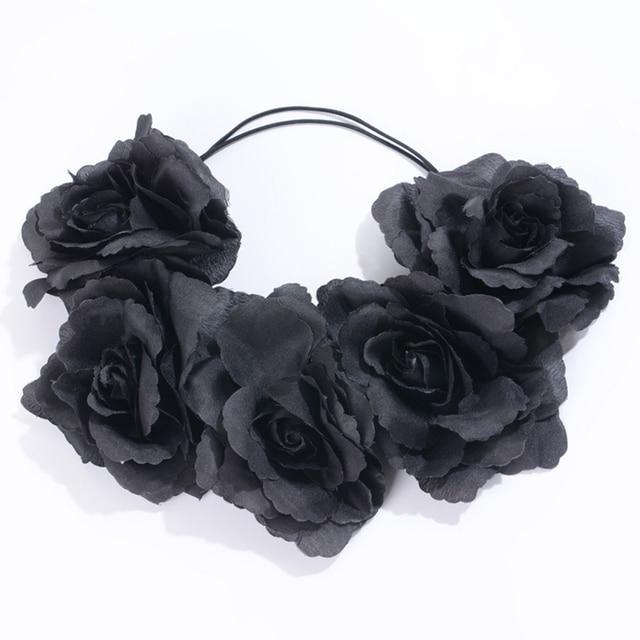 Женский Венок с цветами, черный венок с короной для свадьбы