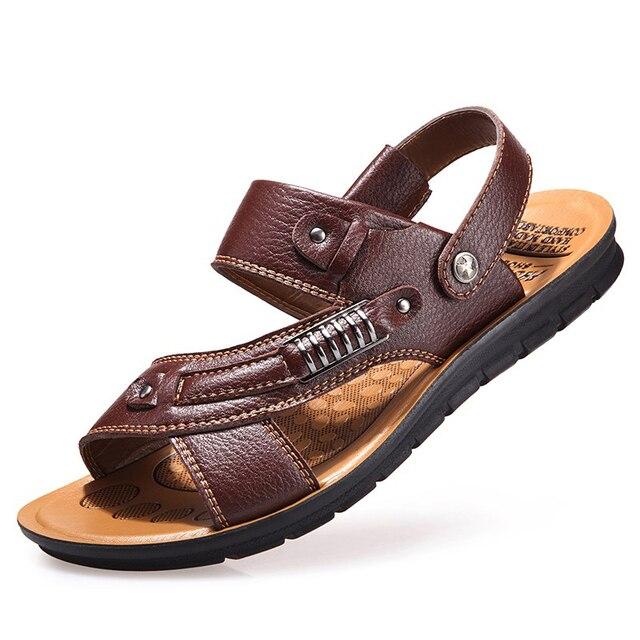 Bagus Musim Panas Keren Pria Sandal Sandal Kulit Fashion Sepatu Kasual Pria  Sandal Bernapas Pantai Sepatu 02aefb1b21