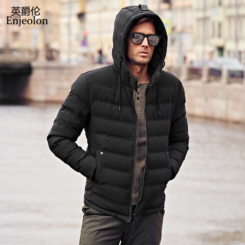 Enjeolon Brand winter Cotton Padded Hooded Jacket Men Windproof Parka Men hoodies collar Clothing Thick Quilted Coat Mens MF0278 winter jacket men warm coat mens casual hooded cotton jackets brand new handsome outwear padded parka plus size xxxl y1105 142f