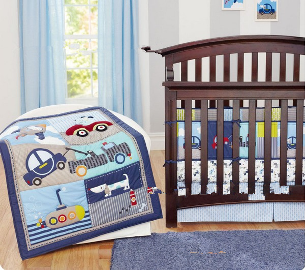 7pcs Blue Transportation And Embroidery Dog Baby Cot Crib Bedding Set For Boys Bed Kit