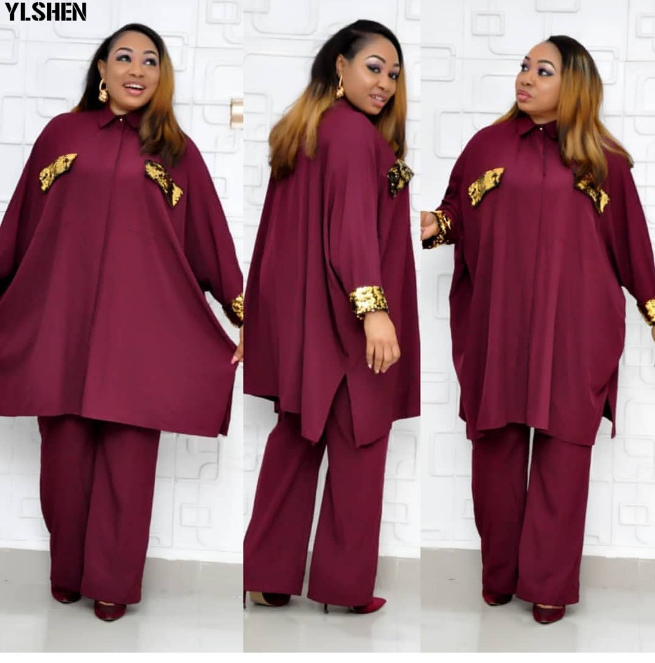 2 Piece Set African Clothes Super Size Dashiki Tops + Pants Suits African Dresses For Women Bazin Riche Africa Clothing For Lady