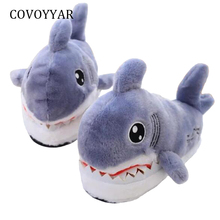 COVOYYAR Furry Winter Shoes Women Slippers 2019 Cute Shark Shape Soft Floor Home Slippers Indoor Couple Shoes Sizes 36-42 WSL579