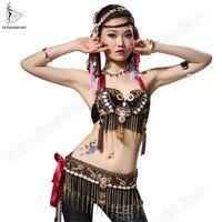 Belly Dance Costume Set Gypsy Bra Belt Tribal Women ATS Stage Performance Tops Adjustable Beads Black Bras Hip Scarf 2Pcs