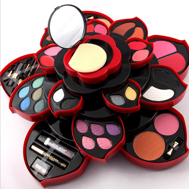 MISS ROSE felower Eye Shadow Plate big size Plum Blossom Rotating set Eye Shadow Box Cosmetic Case Makeup Palette Makeup Tools miss rose 2017 new fashion plum blossom multi function eye shadow plate natural sexy makeup series 40 15cm makeup box