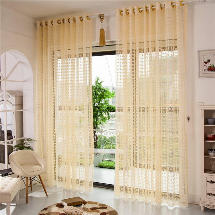 Summer Finished Window Transparent Voile Embroidery Curtains Panel Tulle Sheer For Living Room Bedroom