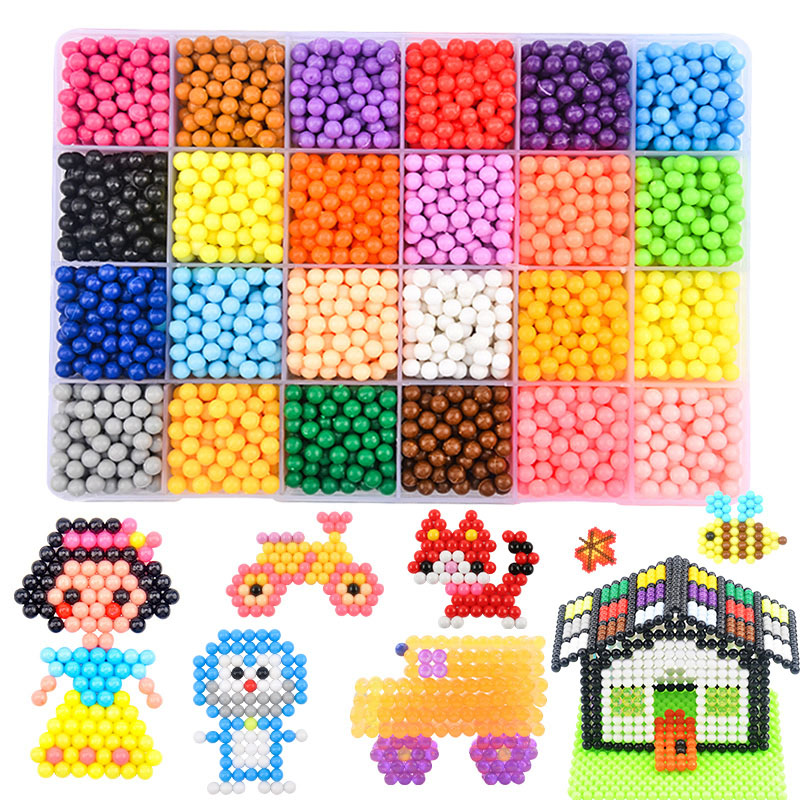 Aquabeads Multicolor DIY Water Spray Magic Aqua Beads Ring Refill 3D Puzzle Educational Kit Ball Game Toys for Children juguetes
