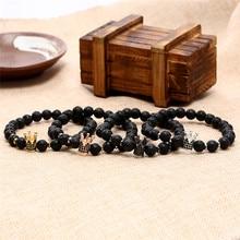 Men Women bracelet Black Zircon Crown Charm Natural Lava stone bead Punk bracelets & bangels erkek bileklik
