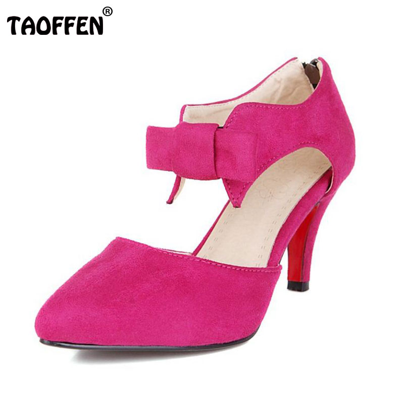 TAOFFEN Size 33-43 Office Women High Heel Sandals Pointed Toe Bow Sexy Wedding Shoes Women Sandals Party Shoes Women Footwear taoffen women high heel shoes woman sexy transparent heels sandals ladies ankle strap party wedding shoes footwear size 31 47