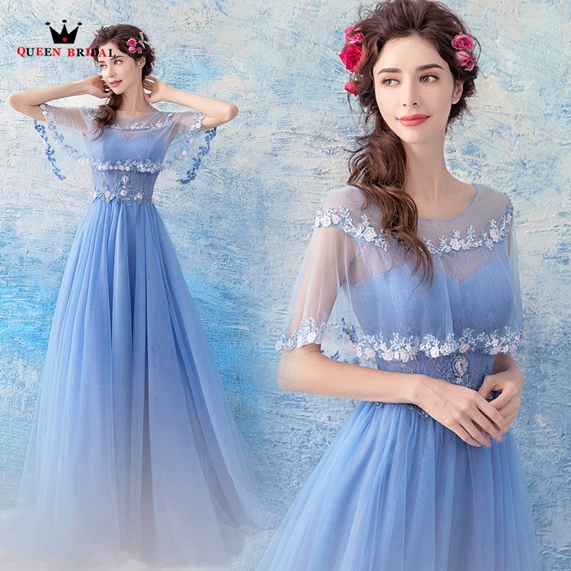 Rainha nupcial 2020 novos vestidos de noite a linha tule rendas flores azul formal elegante baile de formatura vestido de festa feminino ls08
