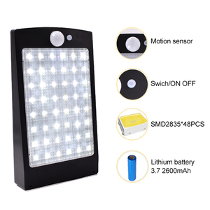 Image 3 - אורות שמש חיצוני 48 LED קיר שמש Motion חיישן אור עם מרחוק בקר אלחוטי אבטחה עמיד למים מנורת קיר