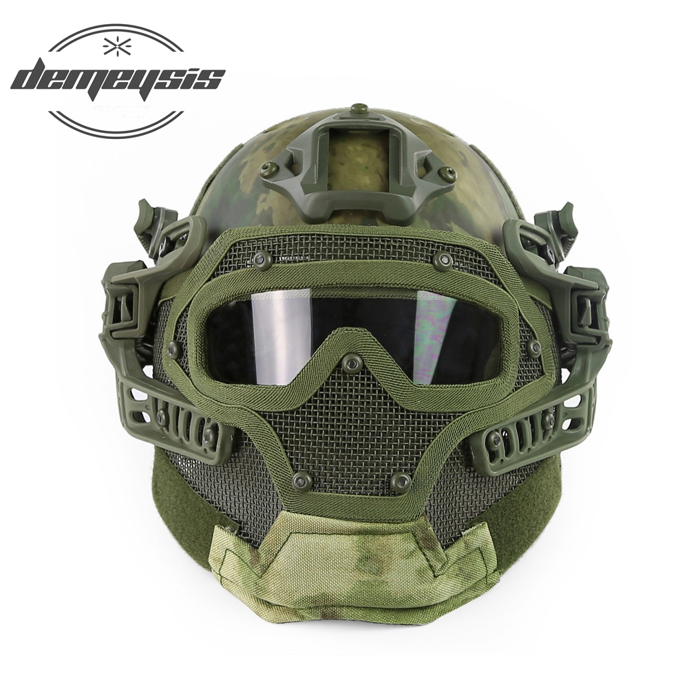 Tactical Full Face Cover Protection Mask Helmet with Goggle for PJ Vent Airsoft Paintball War Game CS Tactical Hunting lightweight hunting tactical helmet airsoft gear crashworthy head protector helmets for cs paintball game camping