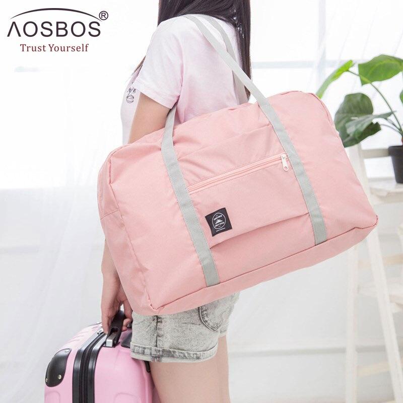 2019 Aosbos NEW Folding Viagem Nylon Sacos de Ombro Bagagem de Mão para Homens & Mulheres Moda Feminina Tote Duffle Grande Esporte bolsa